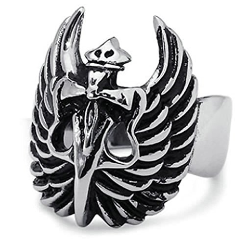 AMDXD Anello Formato 22 Retro Biker Dagger Crosswings 22 millimetri in Acciaio Inox Gioielli Anelli Neri & Argento Men - Indiano Dagger