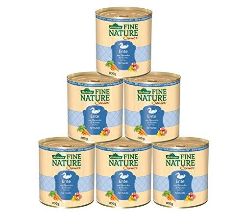 Dehner Fine Nature Hundefutter Senior, Lebensmittelqualität, Ente, 6 x 800 g (4800 g)