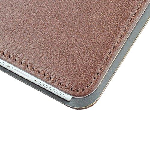 OBiDi - 100% Fait Main en Cuir Véritable de Chiquenaude / Housse pour Apple iPhone SE / Apple iPhone 5S / 5 - Blanc Brun
