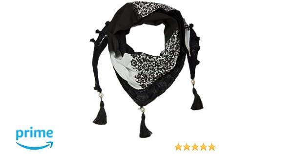 styleBREAKER Foulard triangulaire imprim/é avec glands et perles///écharpe//ch/âle 01020016