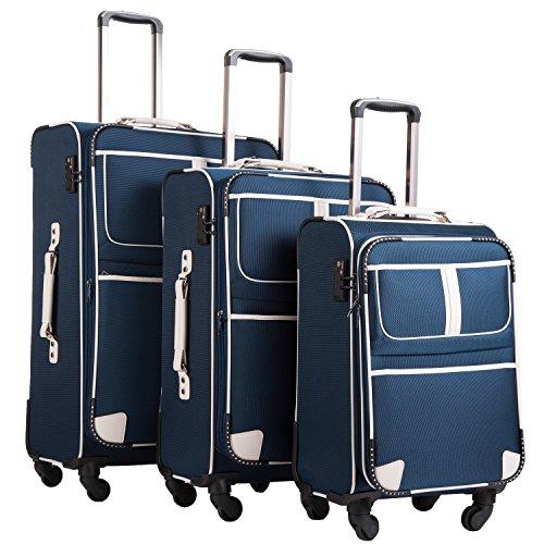 COOLIFE COOLIFE Stoff-Koffer Rollkoffer Leichtgewicht Reisekoffer Vergrößerbares Gepäck mit TSA-Schloss und 4 leiser Rollen (Blau, Koffer-Set)
