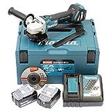 Makita DGA511RTJ - Smerigliatrice angolare a batteria, 18 V/5,0 Ah, 2 batterie + caricatore in MAKPAC