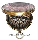'' Robert Frost Gedicht'' gravierte Messingkompass mit geprägtem Nadel u mit Ledertasche . C-3241