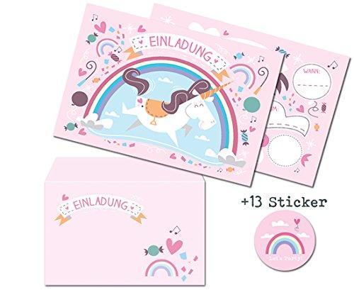 arten mit Umschlägen (12er Set) zum Kindergeburtstag + 13 Sticker GRATIS - für Jungen und Mädchen, EINHORNPARTY! ()