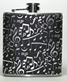 Black & Silver Music Notes 6 oz Stainless Steel Liquor Hip Flask Gift by Giggle Juice Flasks