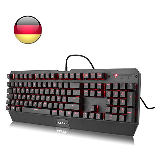 Mechanische Gaming Tastatur USB LESHP Spiel Qwertz-Tastatur mit 104 Tasten Red rot Beleuchtete Mechanische Gaming keyboard (QWERTZ, deutsches Tastaturlayout) schwarz