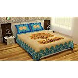 Pure Comfort 100% Cotton King Size BedSheet Bed Cover With 2 Zip Closure Pillow Covers Tree Of Life (Blue)