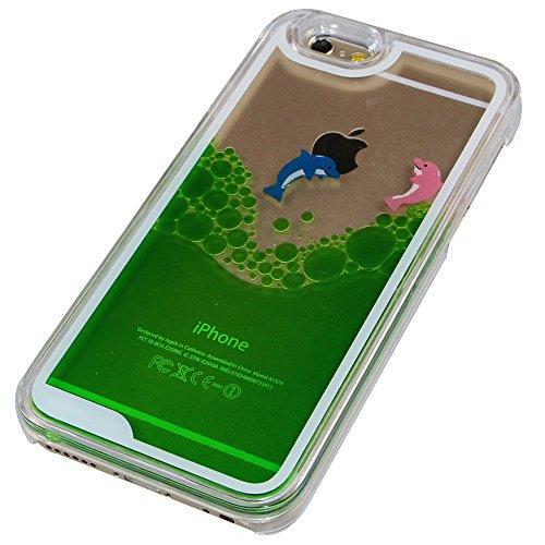 iPhone 6S Coque,iPhone 6 Coque,iPhone 6S Case,EMAXELERS Dauphin Series dur Plastique Transparent Clair Liquide Coque Bling Etui Housse pour iPhone 6S,Glitter Bling Sparkles Cute Blau Dauphin Design St Two Dolphins 4
