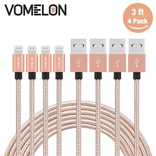 Preisvergleich Produktbild Lightning Kabel, 4Pack 3ft Nylon geflochtenen Blitz auf USB Syncing und Ladekabel Datenkabel Kompatibel mit iPhone 7/7 Plus / 6S / 6 Plus, SE / 5S / 5, iPad, iPod Nano 7