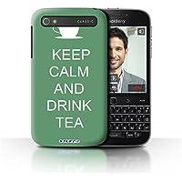 Custodia/Cover Rigide/Prottetiva STUFF4 stampata con il disegno Mantenere la Calma per Blackberry Classic/Q20 - Bere Tè/Verde