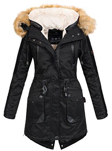 Navahoo Damen Winter Jacke Winterjacke Teddyfell warm gefüttert Kunstleder Einsätze B400