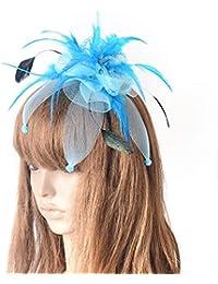 Mujer Fascinator Sombreros Diadema Flor Nupcial Pelo Pluma Boda Banda Fiesta niñas Sombrero de Cóctel,Blue