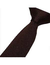 Cravatemince pour hommes marron foncé Unis bout carré de 5cm