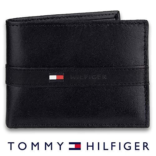 Tommy Hilfiger Herren Geldbörse dünn schlank lässig faltbar 6 Kreditkartenfächer herausnehmbares Ausweisfenster - Schwarz - Einheitsgröße -