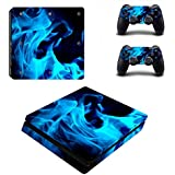 GADGETS WRAP Printed -CO- Blue Fire Theme Skin Sticker For PS4 Slim Console And Controllers