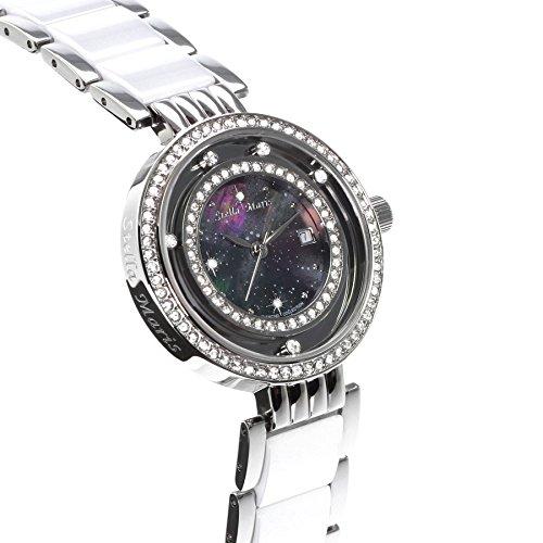 Image of Stella Maris STM15SM13 -Women's Watch - Black Watch Dial - Analog Quartz - Black Ceramic Bracelet - Diamonds - Swarovski Elements - Stylish - Classy