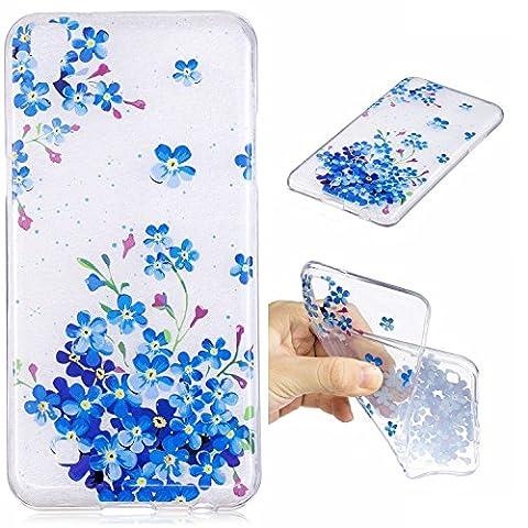 For LG X Power(K220)/F750 Case Cover,Ecoway Coque de téléphone Doux Transparent Silicone Housse en silicone Housse de protection Housse pour téléphone portable pour LG X Power(K220)/F750 - Fleurs