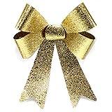 Myrmidon Germany Große XL Glitter-Geschenkschleife, 26cm breit und 40cm lang, geeignet für Geschenke, Hochzeiten, Partys und als Dekoration (Gold) - weitere Farbvarianten vorhanden!