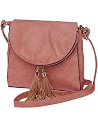 Sling Bags For Women By Fur Jaden, Stylish Pink Colour Branded Sling Bag For College Girls