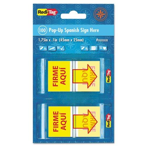 Redi-Tag firme AQUI español página banderas en dispensador de pop-up, rojo/amarillo, 100por paquete (rtg72046)