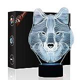 Wolf Geschenk Nachtlicht 3D neben Tischlampe Illusion, Jawell 7 Farben ändern Touch Switch Schreibtisch Dekoration Lampen Geburtstag Weihnachtsgeschenk mit Acryl Flat & ABS Base & USB Kabel