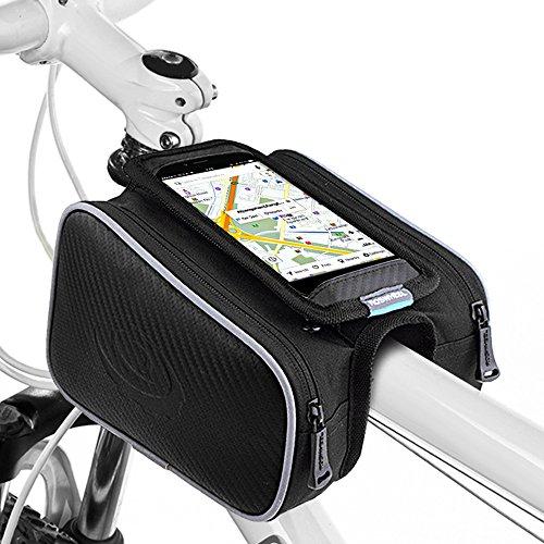 UBEGOOD Fahrrad Rahmentaschen, Fahrrad Rahmentaschen Handyhalter Fahrrad Tasche mit Doppeltasche für iPhone 6s Plus/6 Plus/Samsung s7 edge andere bis zu 5,5 Zoll Smartphone