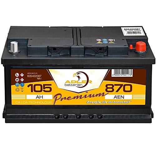 Auto Batterie 12V 105Ah Adler Premium Starterbatterie statt 85 88 90 92 95 100 Ah
