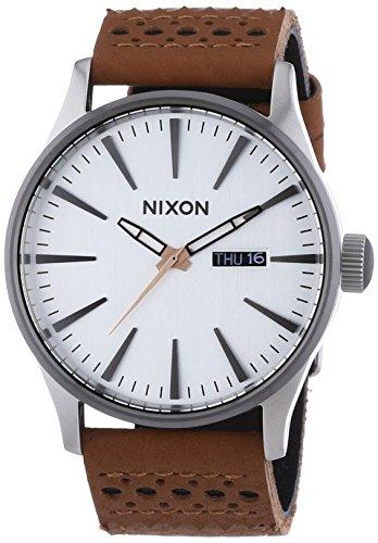 Nixon  0 – Reloj de cuarzo para hombre, con correa de cuero, color marrón