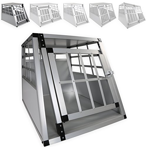 LovPet Alu Hundebox Alubox Hundetransportbox Transportbox Reisebox Haustiere Stabil Größe: L Farbe: Grau