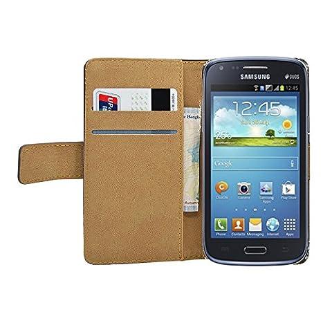 Membrane - Noir Portefeuille Etui Coque Samsung Galaxy Core (GT-i8260 / GT-i8262 Core Duos) - Wallet Case Housse + 2 protections d'écran