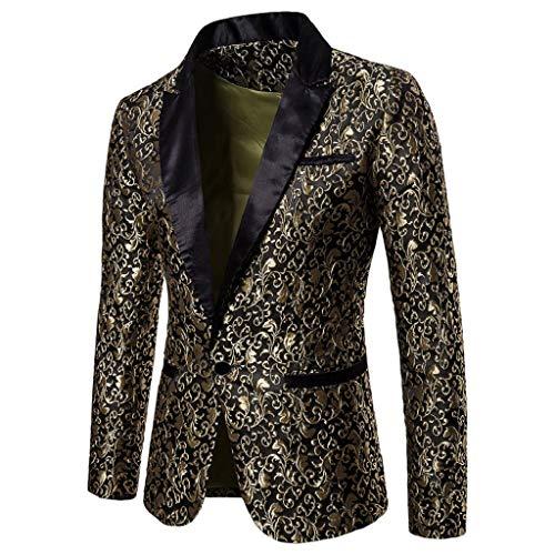 QUICKLYLY Trajes Hombre Chaquetas Charm Encanto Casual Un Botón Apto Fit Suit Traje Blazer Abrigo Tops Fiesta Lentejuelas Chaqueta Esmoquin Estampada Manga Larga Cardigan(Oro,L)