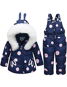 OMSLIFE Bekleidungsset Daunenjacke mit Kaputze Daunenhose Junge Mädchen Verdickte Winterjacke + Winterhose Jacket...