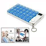 Cisixin 7 Tage Digitale Pillendose mit Alarm,Tablettenbox mit 28 Fächern(Blau)