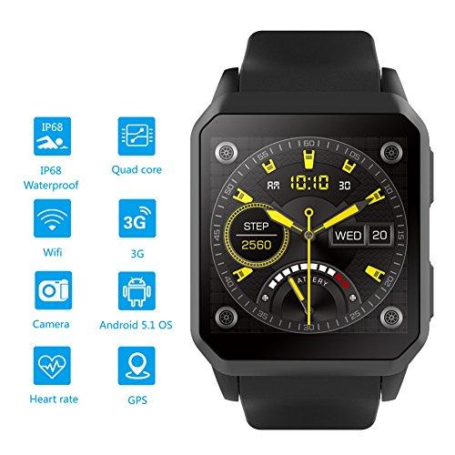 RQINW Bluetooth Smartwatch mit Kamera Musik-Player Unterstützt Sim-Karte 1.54''OLED Touchscreen Für Android-Handys und iPhone Schwarz