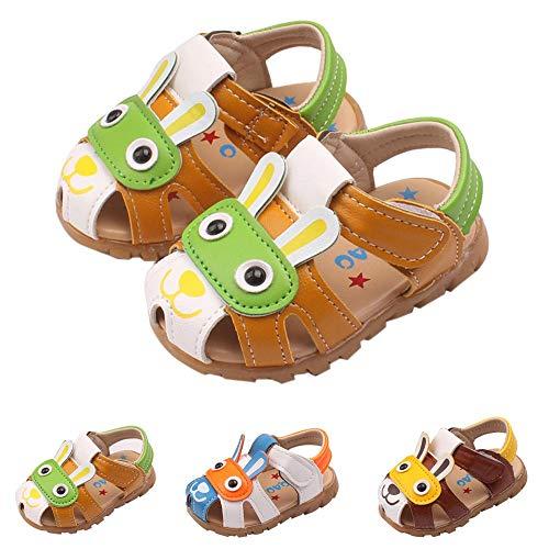 OSYARD Leder Sandalen Baby Jungen Lauflernschuhe mit Klettverschluss Geschlossen Babyschuhe Sommer Kinderschuhe,Gr.15-19