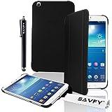 SAVFY® Samsung Galaxy Tab 3 8 Zoll Hülle Flip Cover Case Tasche Etui Schutzhülle aus Kunstleder mit Hardcase auf der Rückseite mit Auto Schlaf / Wach Funktion und Ständerfunktion inkl. Displayschutzfolie und Stift für Samsung Galaxy Tab 3 8 Zoll Tablet T310 / T311 / T315 -schwarz