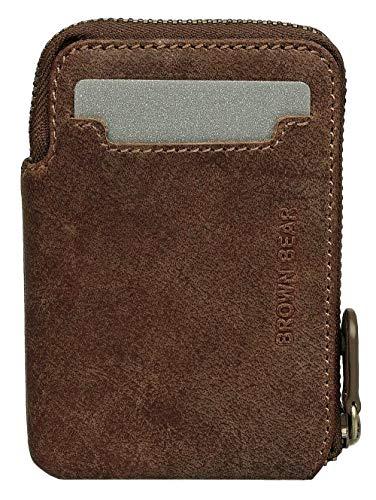 Brown Bear Kredit-Kartenetui Herren Leder Braun Vintage hochwertig Kreditkartenhülle Geldbeutel Männer Portemonnaie Portmonaise Portmonee Ledergeldbeutel Ledergeldbörse