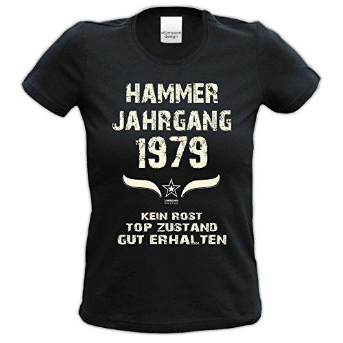 Damen Kurzarm T-Shirt Girlie-Shirt :-: Geschenk zum 38. Geburtstag :-: Hammer Jahrgang 1979 :-: Geschenkidee für Frauen Sie Mama :-: schwarz-01