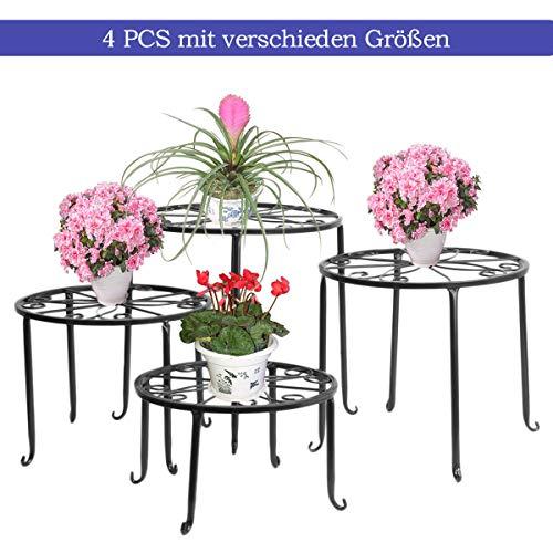 FullBerg Blumenständer Metall Schwarz Tisch Blumenregal Balkon Blumenbank Blumenleiter Dekoratives Pflanzentreppe für Innen und Draußen Wohzimmer Indoor Outdoor Garten Deko