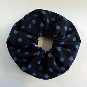 Pünktchen Haargummi / dunkelblau hellblau / Polka Dots Baumwolle / Scrunchie blau / Haar Accessoires / Handgefertigt