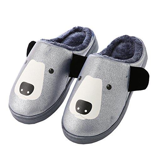 Dessin animé Faux cuir la famille pantoufles à domicile-Unisexe hiver chaud peluche chaussures bootie bleu fonc¨¦