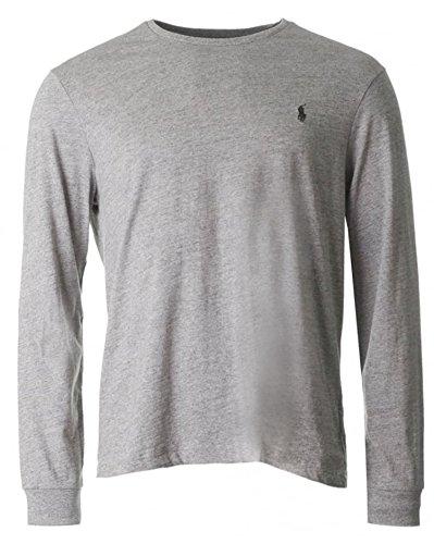 Ralph Lauren Mens Rundhalsausschnitt T-Shirt Langarm-Passform (Median, Grau)
