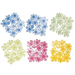mDesign Set of 6 Bathtub Mat - Assortment of Non-Slip Bathroom Mat in Flower Design - Shower Insert With Suction Cups - Clear