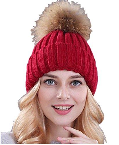 Ducomi® Cortina - Cappello Donna Invernale in Maglia di Lana con Pom Pom Rimovibile in Morbida Pelliccia Ecologica - Idea Regalo Donna (Bordeaux)