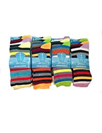 6 PAIRS LADIES SOCKS WOMENS SOCKS GIRLS BEAUTIFUL COLOURFUL MULTICOLOURED STRIPS CASUAL SOCKS XMAS GIFT/CHRISTMAS GIFT UK SHOE SIZE 4-7