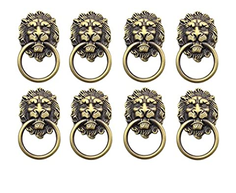 YCNK 8 Pack Door Knob Handle Cabinet Cupboard Drawer Metal Pull Ring Antique Lions Head Color