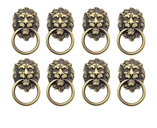YCNK 8 Satz Türgriff Griff Schrank Schrank Schublade Metall Zug Ring Antik Lions Kopf Farbe Bronze