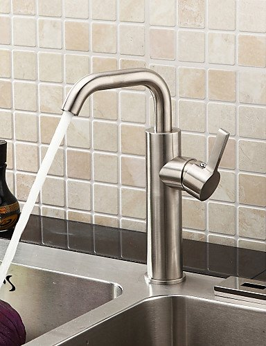 AI LI WEI Bathroom Furniture - Brushed Chrome Finish Stainless Steel Contemporary Kitchen Faucet
