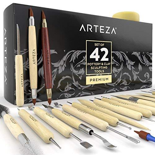 ARTEZA Töpferwerkzeug-Set | Set mit 42 Modellier-Werkzeugen | Doppelseitige Ton-Werkzeuge | Keramik-Werkzeug mit Holzgriffen | Ideal zum Töpfern