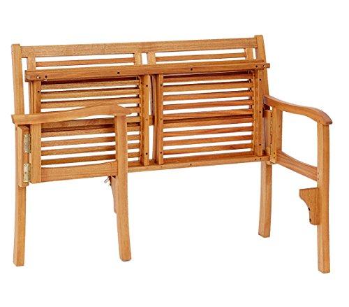 Dehner Klappbank Douglas, 2-Sitzer, ca. 119 x 62 x 90 cm, FSC Akazienholz, geölt, natur - 3
